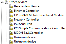 base system device driver hp
