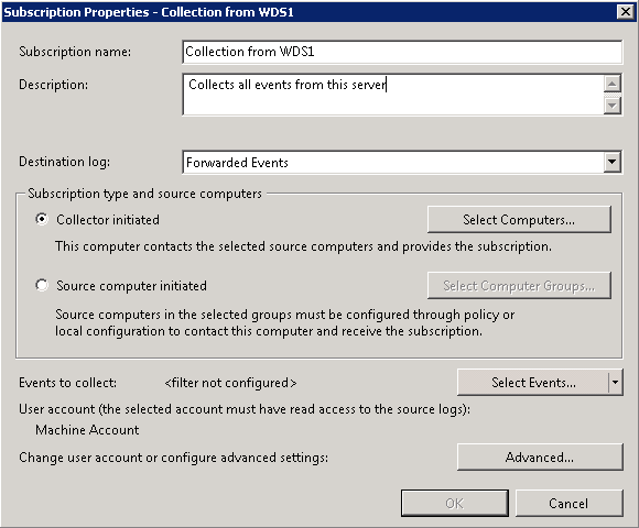 Forward Event Log from several server to a central Windows
