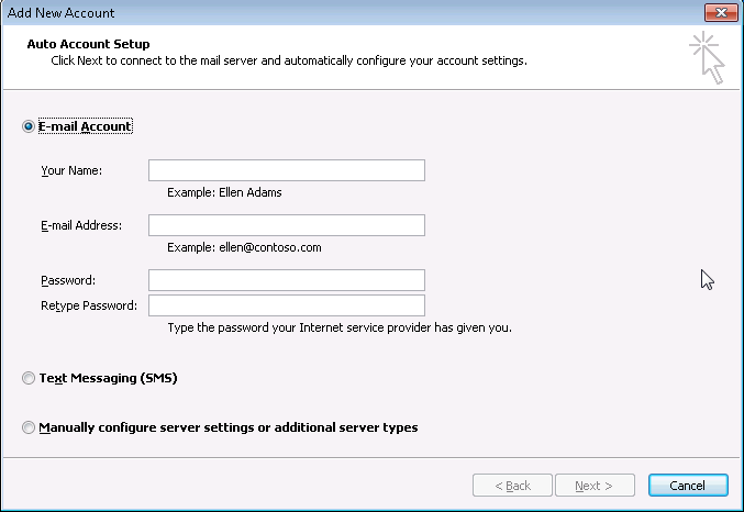 How to make Outlook first time configuration with